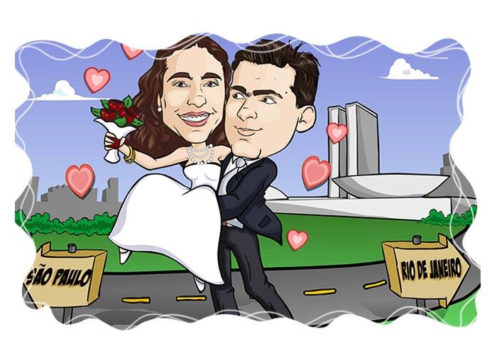 01 Caricatura de Casal com cenário