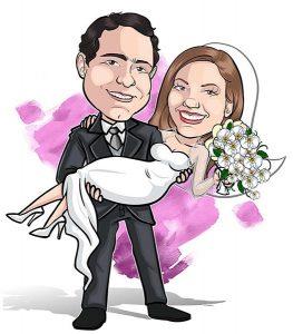 Caricatura-noivos-webcaricaturas-02-1-263x300 Caricatura de noivos com mascote