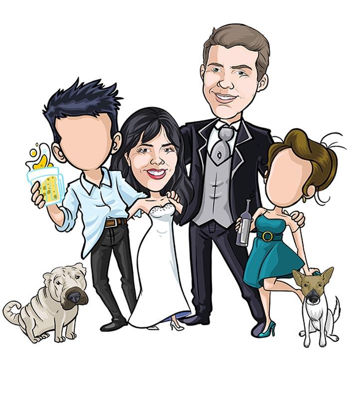 Noivos-com-mascote-webcaricaturas-03 Caricatura de noivos com mascote