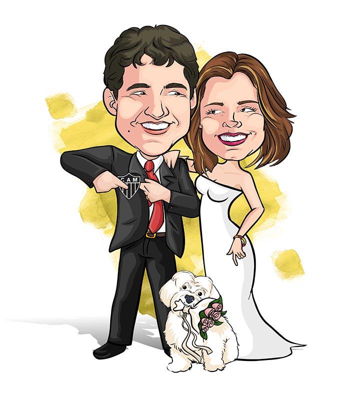 Noivos-com-mascote-webcaricaturas-04 Caricatura de noivos com mascote