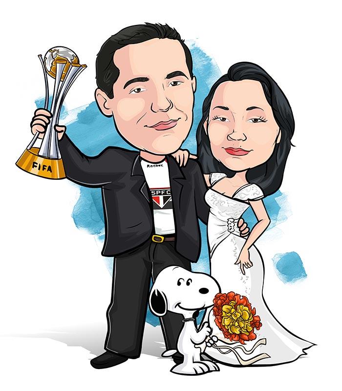 Noivos-com-mascote-webcaricaturas-05 Caricatura de noivos com mascote