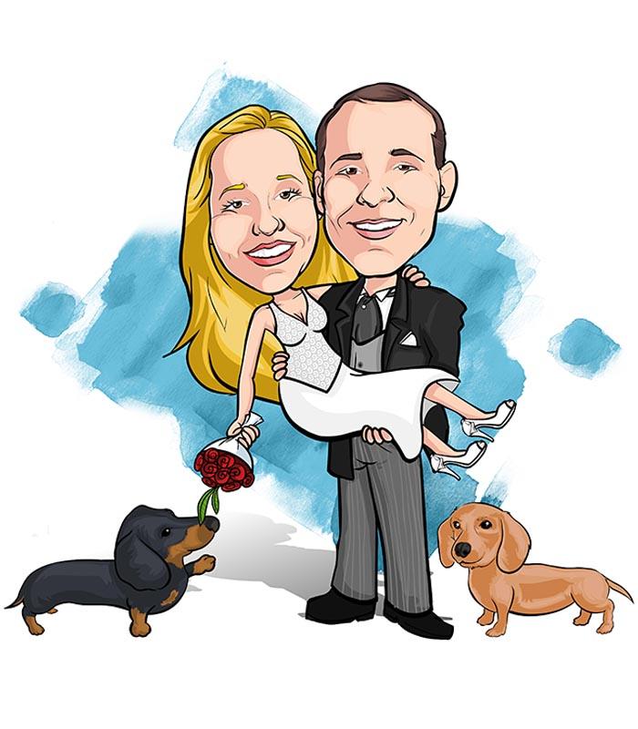 Noivos-com-mascote-webcaricaturas-06 Caricatura de noivos com mascote