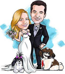 Noivos-com-mascote-webcaricaturas-07-1-263x300 Caricatura online de casal com veículo