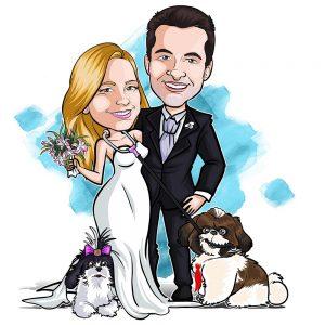 caricatura-de-casal-com-mascote-webcaricaturas-2-300x300 Caricatura de Casal com cenário