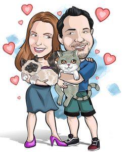 caricatura-de-casal-com-mascote-webcaricaturas-6-257x300 Caricatura de Casal
