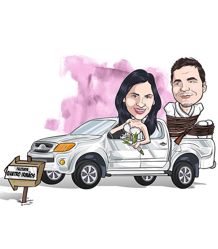 caricatura-de-casal-com-veiculo-webcaricaturas-3 Caricatura online de casal com veículo