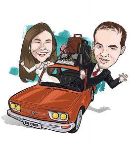 caricatura-de-casal-com-veiculo-webcaricaturas-4-2-263x300 Caricatura de noivos com mascote