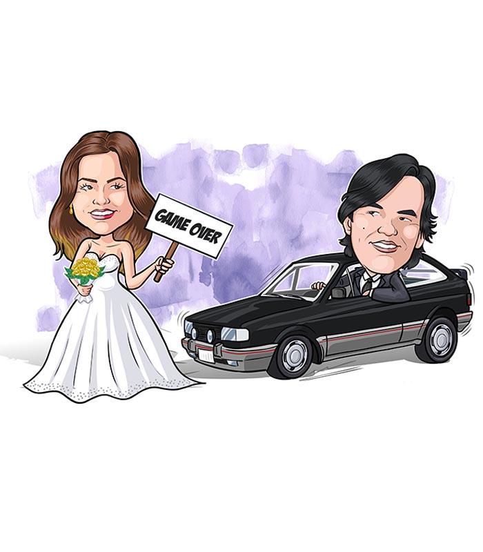 caricatura de casal com veiculo webcaricaturas (5)
