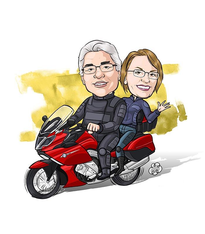 caricatura-de-casal-com-veiculo-webcaricaturas-6 Caricatura online de casal com veículo